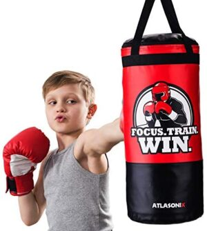 Hanging Kids Punching Bag for Ceiling/Wall 2 Ft, Unfilled | Professional Style Youth Punch Bag | Training in Martial Arts/Boxing/Karate for Boys or Girls Age 5-15 | Gloves Not Included