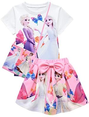 Heneray Girls Summer Holiday Outfit 3pcs T-Shirt Skirt Clothing Sets Birthday Gift 2-8 Years