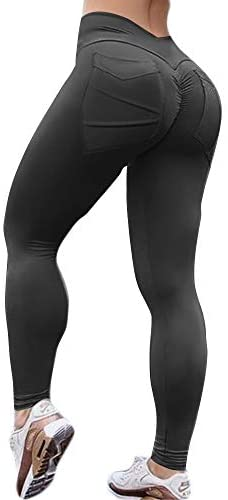 Hioinieiy Women's Scrunch Ruched Butt Lifting Booty Enhancing Leggings High Waist Push Up Yoga Pants with Pockets