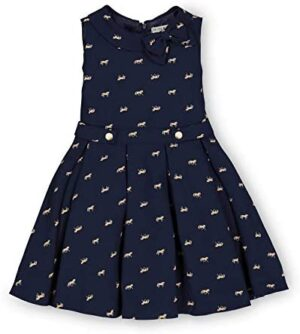 Hope & Henry Girls' Sleeveless Dress with Gathered Waist and Bow Detail
