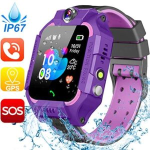 [IP67 Waterproof Phone Watch] Smartwatch for Kids, GPS Tracker with SOS Alarm Clock Game Wrist Smart Watch for Girls Boys Student Children Birthday Toys School Travel Outdoor (Purple)
