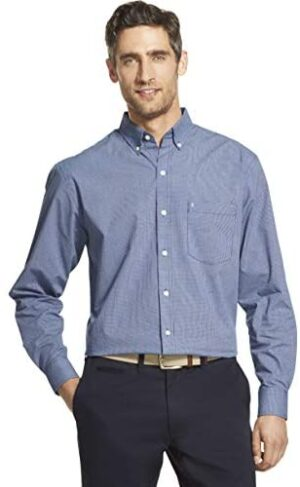 IZOD Men's Button Down Long Sleeve Stretch Performance Check Shirt