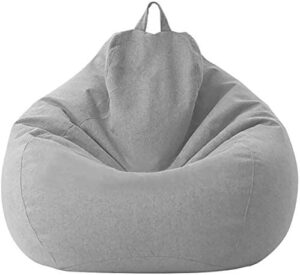 """IZvs53C Soft Bean Bags Sofa Chairs Cover for Adults, Teens and Kids Indoor Outdoor, Memory Foam Furniture for Garden Lounge Dorm Room (Light Grey, 31.5"""" x 27.6'')"""