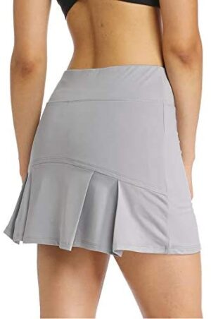 Ibeauti Womens Back Pleated Athletic Tennis Skorts Golf Skirts with 3 Pockets Mesh Shorts for Running Active Workout