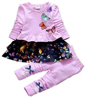 Infant Little Baby Girls Clothing Set 2 Pieces Set Long Sleeve T Shirt and Skirt Pants