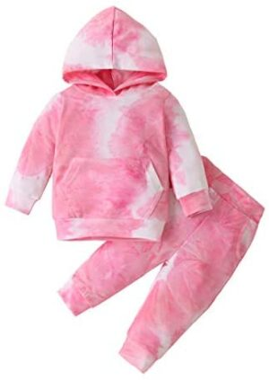 Infant Toddler Baby Girls Boys Fall Clothes Set Tie Dye Long Sleeve Pocket Hoodie Sweatshirt Pants Outfit