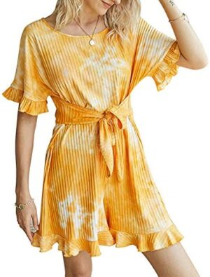 JINTING Women's Summer Short Sleeve Tie-Dye Jumpsuit Rompers with Bandage Belt Ruffle Shorts Jumpsuit Outfits