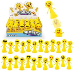 Jumping Emoji Popper Spring Launchers Toys - Cute Bouncy Party Favors for Kids - Unique Stress Relief Squishy Mini Toys - Party Supplies and Goodie Bag Fillers - 24 Figurines in a Beautiful Display Box - Easter Egg Filler