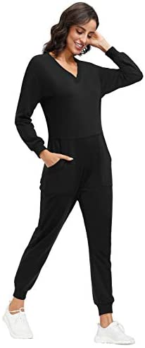 Jumpsuits for Women V Neck Long Sleeve Onesies Romper with Zipper Playsuit Outfits