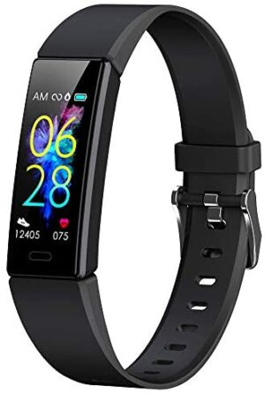 K-berho Slim Fitness Tracker for Kids,Heart Rate Monitor,IP68 Waterproof Activity Tracker for Boys&Girls,Blood Pressure,11 Sport Modes Health Smart Watch with Pedometer