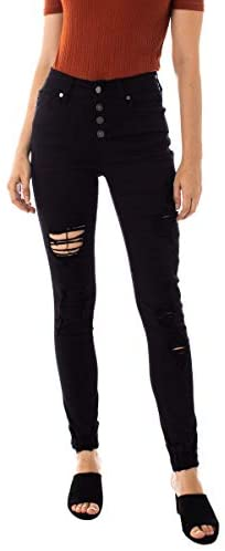Kan Can Women's High Rise Button Fly Distressed Super Skinny Jeans