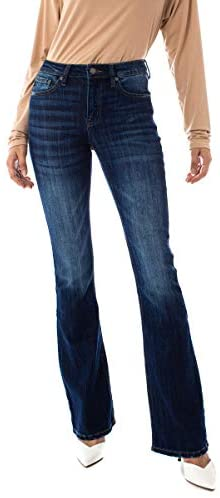 Kan Can Women's Mid Rise Flare Hem Jeans