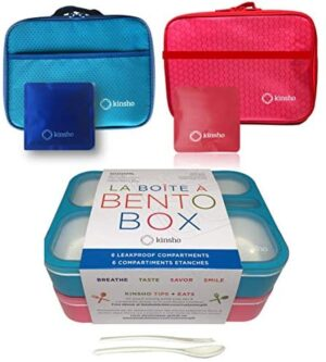 Kid Bento Lunch Box with Bag, Ice Packs | 2 Boxes & Bags & Cold Pack for Kids Adults | Value Container Set for School Lunches, 6 Compartments Leakproof BPA Free, Two Blue & Pink