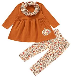 Kids Baby Girls Thanksgiving/Halloween Outfit Long Sleeve Turkey/Pumpkin Tops Dress Pants with Scarf Fall Winter Clothes