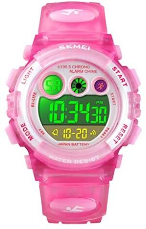 Kids Digital Sports Watch for Boys Girls, Kid Waterproof Fashion Electronic 7 Colorful Led Watches with Alarm Stopwatch Silicone Band Luminous Wristatches