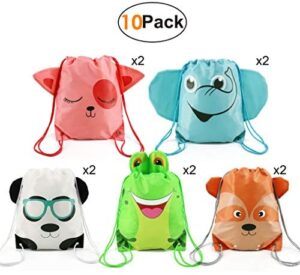 Kids-Party-Supplies-Favors-Bags Drawstring Backpack String Bag for Girls Boys Birthday Gift Favor 10 Pack 5 Animals Designs Candy Goodie Treat Bags