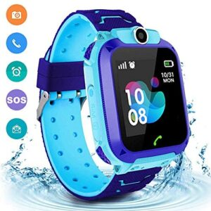 Kids Smart Watch, IP67 Waterproof LBS Positioning Watch HD Touch Screen, with SOS Two-Way Call Clock Camera SIM Card Slot Compatible with iOS and Android(Blue)