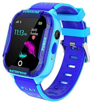 Kids Smart Watch Waterproof, WIFI LBS Tracker SOS Call Smartwatch Phone for Kids 3-12 Year Old Boys Girls with Two-Way Call Touch Screen Voice Chat Camera Game Flashlight for Birthday Christmas,Blue