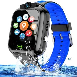 """Kids Smart Watch Waterproof WiFi/GPS Tracker with High Capacity Battery 1.4"""" Touch Screen SOS Two Way Call Voice Chat Game Alarm Clock Smart Phone Watch Electronic Learning Toys Birthday Gifts (Blue)"""