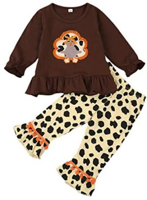 Kids Toddler Baby Girls Thanksgiving Dress Top Clothes Turkey Tunic Shirt and Plaid Leggings Pants Set with Scarf Outfits