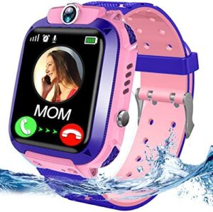 Kids Waterproof Smart Watch Phone LBS Tracker for Girls Boys with SOS Call Camera Touch Screen Game Alarm Children Digital Wrist Watch Gift Electronic Watch Learning Toys (Pink)