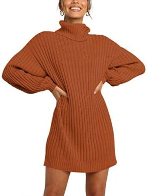 LOGENE Women's Sweater Dress Turtleneck Long Sleeve Loose Ribbed Knit Mini Dress
