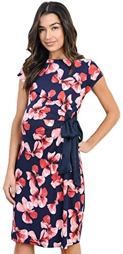 LaClef Women's Cap Sleeve Maternity Dress with Adjustable Side Tie