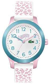 Lacoste Kids' Lacoste.12.12 Quartz Watch with Silicone Strap, White and Pink, 14 (Model: 2030026)