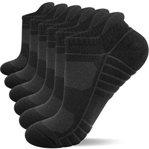 Lapulas Athletic Ankle Socks, Low Cut Cushioned Running Tab Sports Socks for Men and Women 6Pairs