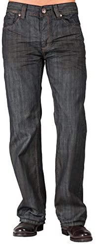 Level 7 Mens Relaxed Bootcut Premium Denim Jeans Oil Stain Coating Washed