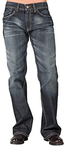 Level 7 Men's Relaxed Bootcut Premium Denim Jeans with Medium Blue Wash and Blizzard Whiskering