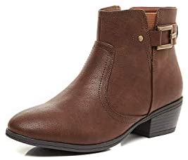 LifeStep Women's Low Chunky Heel Round Toe Side Zipper Ankle Booties
