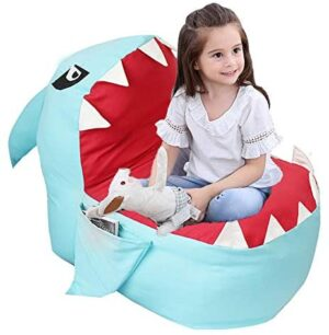 """Lmeison Animal Storage Bean Bag Chair Cover, Beanbag Chair for Boys Girls, Soft Canvas Plush Toy Organizer, Towels & Clothes Stuffed Storage Bag, 31.5"""" Large (No Stuffing) (Blue Shark)"""
