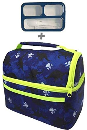Lunch Bag with Bento Box For Kids | Dinosaur Boxes For Boys with Small Snack Container | Insulated Dino Bags School, Kindergarten, Toddlers or Baby Daycare | Lonchera Para Niños, Navy Blue And Black
