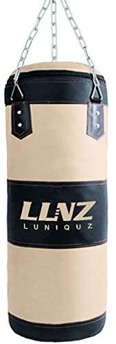 Luniquz Punching Bag for Kids Adults, Unfilled Hanging Boxing Bag with Mount Set for MMA Muay Thai Sparring