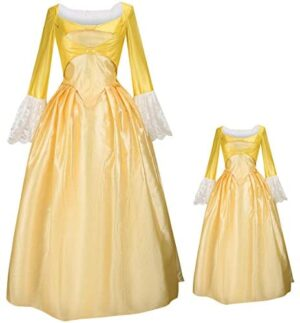 MIAOCOS Family Matching Outfits Mommy Kid Hamilton Dresses Costume Victorian Peggy Yellow Dress Vintage Cosplay