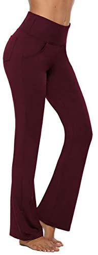 MOCOLY Bootcut Yoga Pants Tummy Control High Waist Workout Women Tall Bootleg Straight Long Pants with 4 Pockets