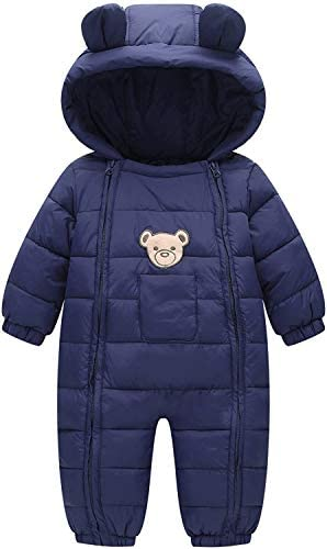 MODNTOGA Infant Baby Toddler Boys Girls Winter Snowsuit Outerwear Clothes Thick Cotton Hooded Warm Snow Wear 6-24 Months