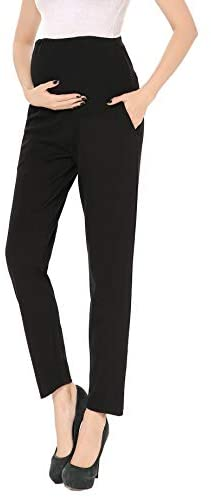 Maternity Pants Comfortable Stretch Over-Bump Women Pregnancy Casual Capris for Work