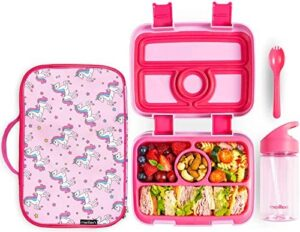 Meillen Kids Bento Lunch Box, Insulated Cooler Bag & Water Bottle, Leak-Proof 4-Compartment Snack Box, Reusable Soft Tote, Toddlers Lunch Containers for Girls or Boys, Ages 2 to 7 (Pink)