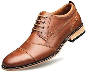 Men-Oxford Leather-Casual Dress-Shoes Formal-Wedding - Shoes with Wooden Sole Cowhide Leather