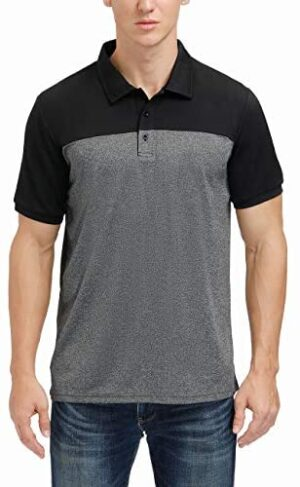 Men's Casual Short Sleeve Moisture Wicking Performance Golf Polo Contrast Color Patchwork Pique Shirts Tops
