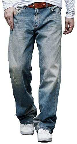 Men's Loose Straight-Leg Relaxed-Fit Jean Washed Denim Original Fit Work Dungaree