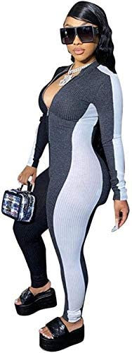 Miiyana Womens Sexy Jumpsuits Rompers Long Sleeve One Piece Zipper Bodycon Outfits Clubwear