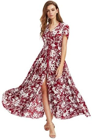 Milumia Women Floral Print Button Up Split Flowy Party Maxi Dress Red and White