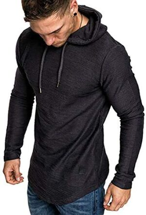 MorwenVeo Men's Athletic Casual Hooded T-Shirts - Fashion Long Sleeve Workout Pullover Shirt Top Blouse