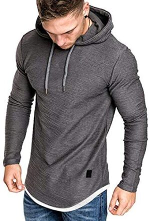 MorwenVeo Men's Casual Hooded T-Shirts - Fashion Short Sleeve Solid Color Pullover Top Blouse