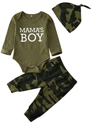 Newborn Baby Girl Boy Clothes Mommy Sayings Top Printed Bodysuits Camouflage Pants+Hats Romper Outfit Set