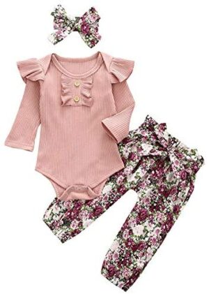 Newborn Baby Girls Outfits Flying Sleeve Romper+Striped/Floral Pants +Headband Cute Toddler Girl Clothes Set 3PCs Fall