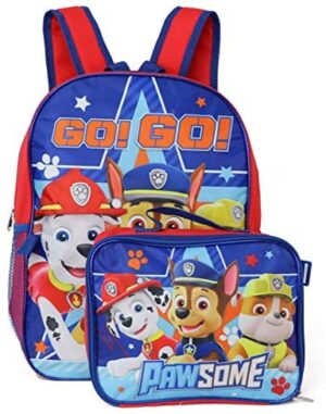 """Nickelodeon Boy Paw Patrol 16"""" Backpack With Detachable Matching Lunch Box"""